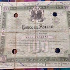 Coleccionismo Acciones Españolas: RARA OBLIGACIÓN DE VALOR 100 PESETAS DEL BANCO DE SÓLLER DE 1 DE ENERO DE 1930 CIRCULÓ COMO MONEDA. Lote 252859710