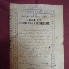 Collezionismo Azioni Spagnole: ACCION SOCIEDAD ANONIMA TRAN-VIA DE ORIHUELA A CREVILLENTE.30 NOVIEMBRE DE 1904.RARISIMA.. Lote 252991420