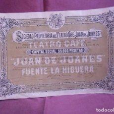 Collezionismo Azioni Spagnole: ACCION SOCIEDAD PROPIETARIA DEL TEATRO-CAFE JUAN DE JOANE.FUENTE DE LA HIGUERA(VALENCIA)1/3/1918.RAR. Lote 252992070