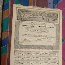 Coleccionismo Acciones Españolas: MUY RARA ACCIÓN 500 PESETAS BANCO AGRARIO DE BALEARES Nº183 22 MAYO 1943 MUY GRANDE. Lote 254149205