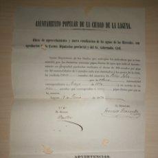 Coleccionismo Acciones Españolas: DOCUMENTO AYUNTAMIENTO POPULAR DE LA CIUDAD DE LA LAGUNA, 1870. FIRMADO ALCALDE DOMINGO BELLO. Lote 254285465