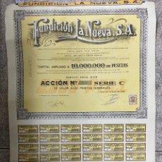 Coleccionismo Acciones Españolas: ACCIONES DE FUNDICION LA NUEVA S.A. GIJON - ASTURIAS. 1962.. Lote 254355945
