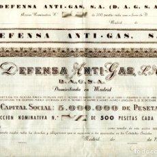 Collectionnisme Actions Espagne: ACCIÓN DE 500 PESETAS DE DEFENSA ANTI-GAS, S. A. (D.A.G.S.A.) 1950S. Lote 254693520