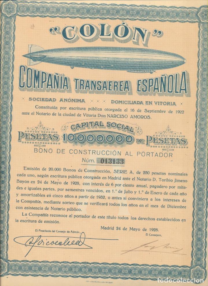 COLÓN. COMPAÑÍA TRANSAÉREA ESPAÑOLA 1928. (Coleccionismo - Acciones Españolas)