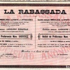 Collectionnisme Actions Espagne: LA RABASSADA (CASINO) - ACCION 1910. Lote 254950315