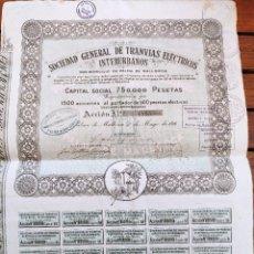 Coleccionismo Acciones Españolas: ACCION DE LA SOCIEDAD GENERAL DE TRANVÍAS ELECTRICOS INTERURBANOS. PALMA DE MALLORCA. 1916.. Lote 257492515