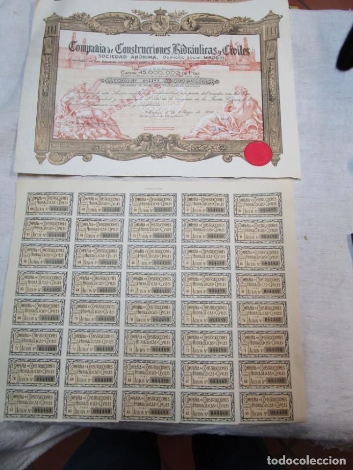 12 ACCIONES CIA DE CONSTRUCCIONES HIDRAULICAS - MADRID 1953 + INFO, NO OFERTAS PARA ESTE LOTE. (Coleccionismo - Acciones Españolas)
