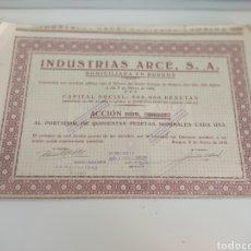 Coleccionismo Acciones Españolas: DOCUMENTO INDUSTRIAS ARCE S.A BURGOS 1942 ACCIÓN ACCIONES FÁBRICA DE HILADOS Y CONFECCIÓN. Lote 261522230
