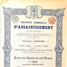 Coleccionismo Acciones Españolas: ACCION MADRID 1895. SOCIEDAD GENERAL DE SANEAMIENTO. Lote 261546590