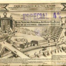 Colecionismo Ações Espanholas: DEUDA AYUNTAMIENTO DE BILBAO DE1.939 CON 52 CUPONES. Lote 262032280