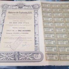 Coleccionismo Acciones Españolas: ANTIGUA ACCION MOTORES DE EXPLOSION SA MOEXSA BARCELONA 1959. Lote 262901580