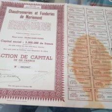 Coleccionismo Acciones Españolas: ANTIGUA ACCION CHAUDRONNERIES ET FONDERIES DE MARIEMONT BELGICA 1944. Lote 262901905