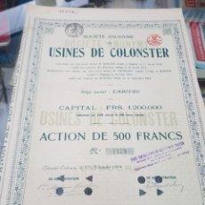Coleccionismo Acciones Españolas: ANTIGUA ACCION USINES DE COLONSTER BELGICA 1919. Lote 262902105