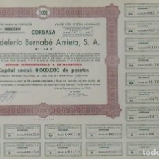 Coleccionismo Acciones Españolas: CORBASA. CORDELERÍA BERNABÉ ARRIETA. S. A. BILBAO. 13 DE NOVIEMBRE DE 1955. Nº 001718. 27X40 CM.. Lote 263143760