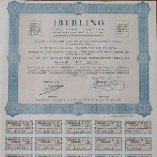Coleccionismo Acciones Españolas: IBERLINO. ZARAGOZA. 31 DE JULIO DE 1956. Nº 10020. 36X27 CM.. Lote 263144125