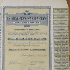 Colecionismo Ações Espanholas: INDUSTRIAS SANITARIAS. BARCELONA. 31 DE JULIO DE 1946. Nº 010.188. 38X28 CM.. Lote 263144285