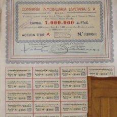 Colecionismo Ações Espanholas: COMPAÑÍA INMOBILIARIA LAYETANA S. A. MADRID. 7 DE MAYO DE 1946. Nº 1305. 40X33 CM.. Lote 263144575