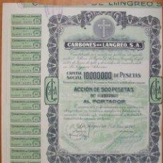 Coleccionismo Acciones Españolas: EMPRESA MINERA CARBONES DE LANGREO S.A. LA FELGUERA-ASTURIAS. 1942. CON CUPONES. Lote 263153500