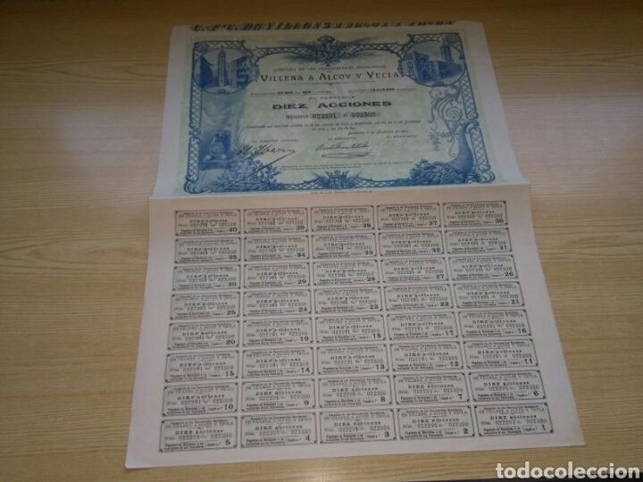 ANTIGUA ACCIÓN COMPAÑÍA DE FERROCARRILES ECONÓMICOS. VILLENA A ALCOY Y YECLA. 1910. CON LOS CUPONES (Coleccionismo - Acciones Españolas)