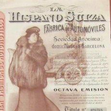 Coleccionismo Acciones Españolas: 1940- LA HISPANO SUIZA S.A. FCA AUTOMOVILES. Lote 268288714