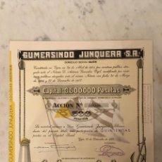 Coleccionismo Acciones Españolas: ACCIONES: GUMERSINDO JUNQUERA S.A. - ESPAÑA 1952. Lote 268915099