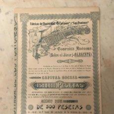 Coleccionismo Acciones Españolas: ACCIONES Y CUPONES: ELECTRICIDAD DE LOS PONTONES S.A. - ESPAÑA 1921. Lote 268915234