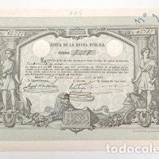 Collectionnisme Actions Espagne: ACCION ANTIGUA ORIGINAL.JUNTA DE LA DEUDA PUBLICA. Nº 89760. MADRID 1873. ACCION-03. Lote 269235813