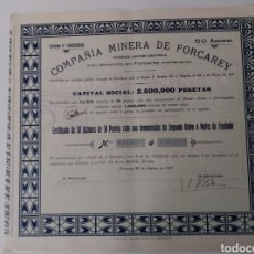 Coleccionismo Acciones Españolas: ACCIÓN COMPAÑÍA MINERA DE FORCAREY SOCIEDAD ANÓNIMA (20 DE FEBRERO DE 1907). Lote 270346503