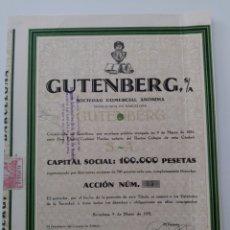 Coleccionismo Acciones Españolas: ACCIÓN N°55 GUTENBERG SOCIEDAD ANÓNIMA (9 DE MARZO DE 1931). Lote 270347443