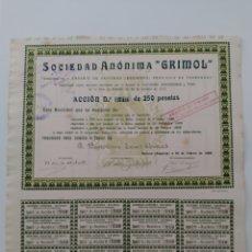 Coleccionismo Acciones Españolas: ACCIÓN N°710 SOCIEDAD ANÓNIMA GRIMOL (28 DE FEBRERO DE 1923). Lote 270348733
