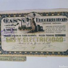 Coleccionismo Acciones Españolas: ACCIÓN N°10621 COMPAÑÍA GAS Y ELECTRICIDAD S.A DOMICILIADA EN PALMA DE MALLORCA (1 DE JUNIO DE 1927). Lote 270352918