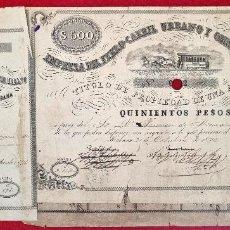 Coleccionismo Acciones Españolas: ACCION FERROCARRIL URBANO Y OMNIBUS DE LA HABANA 1876 CUBA 500 PESOS EPOCA COLONIAL ORIGINAL. Lote 273304553