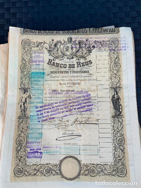 Coleccionismo Acciones Españolas: BANCO DE REUS LOTE DE 400 ACCIONES CORRELATIVAS 1919 - Foto 4 - 274613668