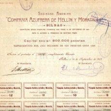 Coleccionismo Acciones Españolas: ACCIÓN DE LA COMPAÑÍA AZUFRERA DE HELLÍN Y MORATALLA, S.A. 1903. ALBACETE, MURCIA, BILBAO. Lote 294166263