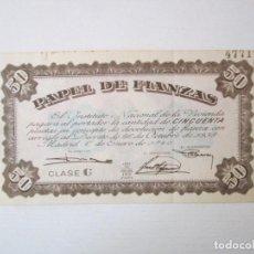 Colecionismo Ações Espanholas: PAPEL DE FIANZAS 50 PESETAS 1940. Lote 283638248