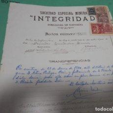 Colecionismo Ações Espanholas: RARA ACCION MINERA, MINAS. 1899. SOCIEDAD MINERA INTEGRIDAD, CARTAGENA, ORIGINAL. Lote 285173588