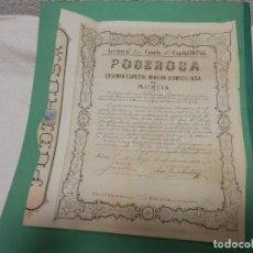 Colecionismo Ações Espanholas: ACCION MINERA, MINAS. 1886. SOCIEDAD MINERA PODEROSA, MURCIA, ORIGINAL. Lote 285173648