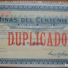 Collezionismo Azioni Spagnole: ANDALUCÍA. DUPLICADO DE ACCIÓN DE MINAS DEL CENTENILLO. LINARES (JAÉN). 1921. Lote 286975593