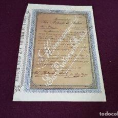 Colecionismo Ações Espanholas: 1899, ANTIGUA ACCIÓN ESPAÑOLA, MANCOMUNIDAD SAN ANTONIO DE PADUA, CARTAGENA, 32 X 23 CMS.. Lote 287067108