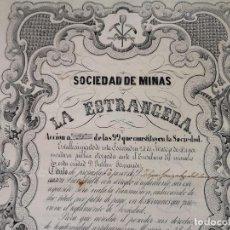 Colecionismo Ações Espanholas: 1851, ANTIGUA ACCIÓN ESPAÑOLA, SOCIEDAD DE MINAS LA ESTRANGERA, MURCIA, 37 X 27 CMS.. Lote 287067363