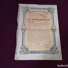 Colecionismo Ações Espanholas: 1874, ANTIGUA ACCIÓN ESPAÑOLA, SOCIEDAD ESPECIAL MINERA LA APROVECHADA, CARTAGENA, 38 X 28 CMS.. Lote 287067513