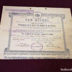 Colecionismo Ações Espanholas: 1899, ANTIGUA ACCIÓN ESPAÑOLA, SOCIEDAD MINERA SAN MIGUEL, MURCIA, 35 X 26 CMS.. Lote 287068578