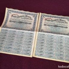 Colecionismo Ações Espanholas: 1907, 2 ANTIGUAS ACCIONES ESPAÑOLAS, COMPAÑÍA FRANCO-ESPAÑOLA MINERA, MADRID (JAÉN), 43 X 32 CMS.. Lote 287072543
