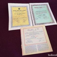 Colecionismo Ações Espanholas: 3 ACCIONES DE MURCIA DE LOS 60´S - 70´S, VARIOS SECTORES, A CLASIFICAR, MURCIA. Lote 287078733