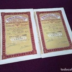 Colecionismo Ações Espanholas: 1943, 2 ANTIGUAS ACCIONES ESPAÑOLAS, ALCOHOLERA VINÍCOLA DE LEVANTE, YECLA, 31 X 21 CMS.. Lote 287079138