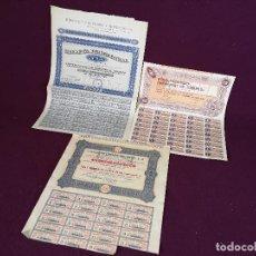 Colecionismo Ações Espanholas: 3 ACCIONES DE MADRID VARIOS SECTORES Y AÑOS, DESDE LOS 40´S, A CLASIFICAR, MADRID. Lote 287079978