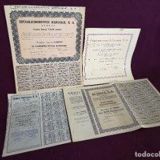 Colecionismo Ações Espanholas: LOTE DE 4 ACCIONES ESPAÑOLAS DESDE LOS 1940´S, VARIOS SECTORES, A CLASIFICAR. Lote 287080633