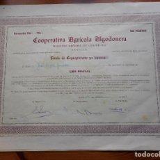 Colecionismo Ações Espanholas: (RESERVADA MANUEL) ACCION.COOPERATIVA AGRICOLA ALGODONERA.N.SEÑORA REYES.100 PESETAS.SEVILLA 1966-67. Lote 288485598