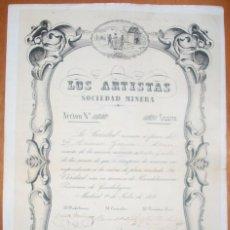 Colecionismo Ações Espanholas: LA MANCHA. LOS ARTISTAS SOCIEDAD MINERA. MINA DE PLATA LA VERDAD. HIENDELAENCINA (GUADALAJARA). 1853. Lote 288486708