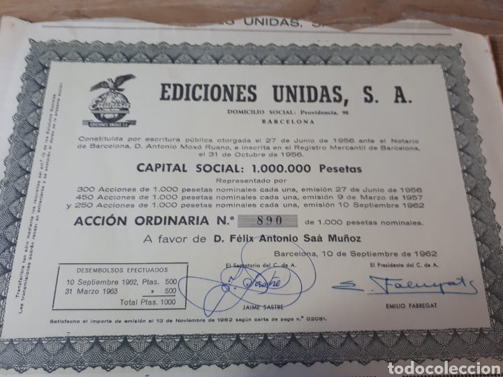 ACCION EDICIONES UNIDAS , S.A BARCELONA 1962 (Coleccionismo - Acciones Españolas)